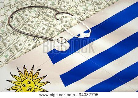 stethoscope against digitally generated uruguay national flag