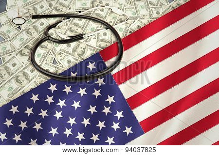 stethoscope against digitally generated american national flag