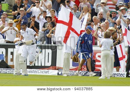 CHESTER LE STREET, ENGLAND - August 09 2013: Joe Root comes out to bat on day one of the Investec Ashes 4th test match at The Emirates Riverside Stadium, on August 09, 2013