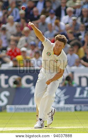 CHESTER LE STREET, ENGLAND - August 09 2013: Jackson Bird bowling during day one of the Investec Ashes 4th test match at The Emirates Riverside Stadium, on August 09, 2013 in London, England.