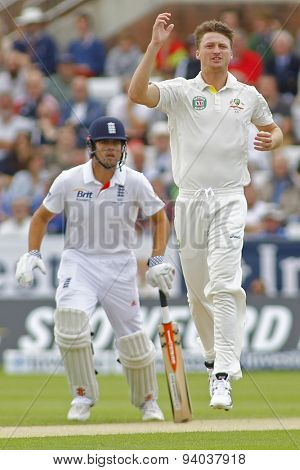 CHESTER LE STREET, ENGLAND - August 09 2013: Alastair Cook and Jackson Bird during day one of the Investec Ashes 4th test match at The Emirates Riverside Stadium, on August 09, 2013
