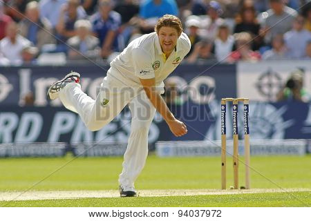 CHESTER LE STREET, ENGLAND - August 09 2013: Shane Watson bowling during day one of the Investec Ashes 4th test match at The Emirates Riverside Stadium, on August 09, 2013 in London, England.