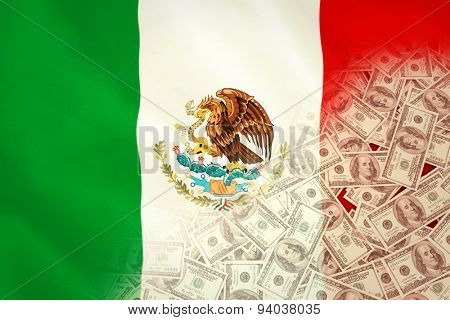 Pile of dollars against digitally generated mexican national flag
