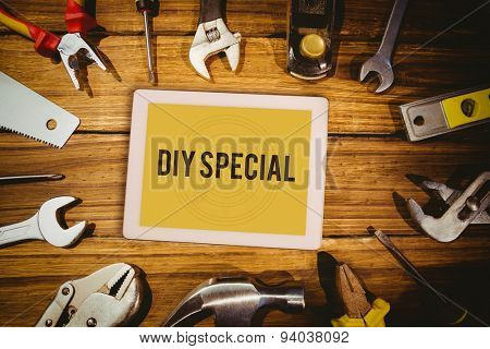 The word diy special and tablet pc against blueprint