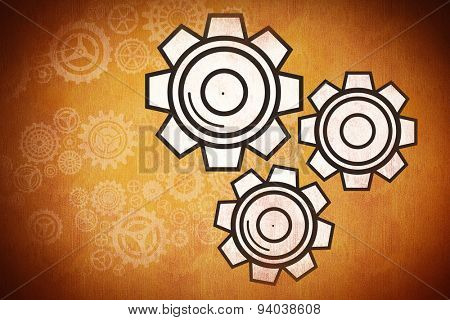 cog and wheel against orange background