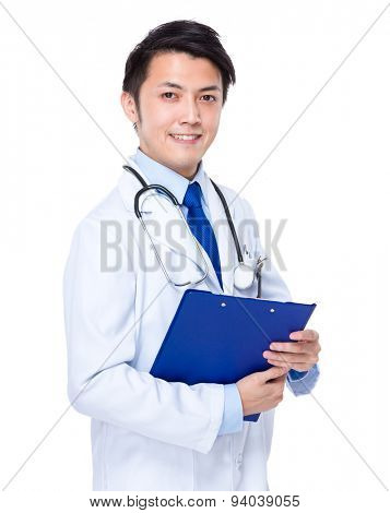 Doctor man hold with file pad