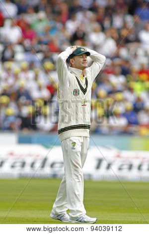 CHESTER LE STREET, ENGLAND - August 09 2013 2013: Michael Clarke reacts during day one of the Investec Ashes 4th test match at The Emirates Riverside Stadium, on August 09, 2013 in London, England.
