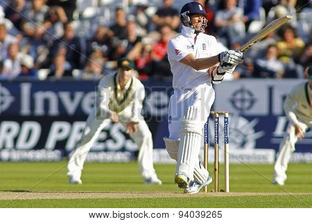 CHESTER LE STREET, ENGLAND - August 09 2013: Graeme Swann during day one of the Investec Ashes 4th test match at The Emirates Riverside Stadium, on August 09, 2013 in London, England.