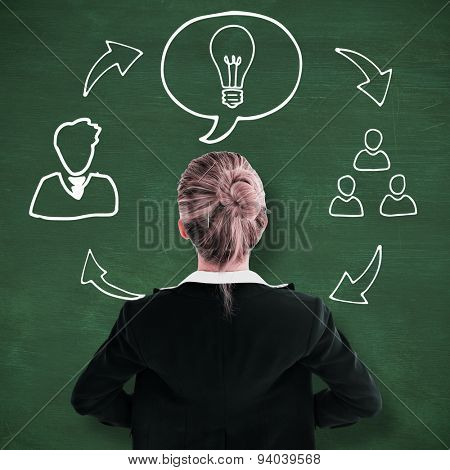 Businesswoman standing with hands on hips against green chalkboard