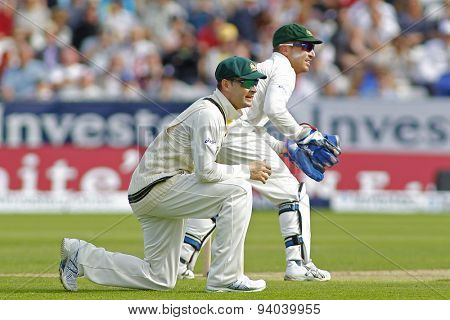 CHESTER LE STREET, ENGLAND - August 09 2013: Michael Clarke and Brad Haddin during day one of the Investec Ashes 4th test match at The Emirates Riverside Stadium, on August 09, 2013