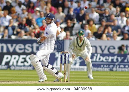 CHESTER LE STREET, ENGLAND - August 09 2013: Jonny Bairstow ducks a bouncer during day one of the Investec Ashes 4th test match at The Emirates Riverside Stadium, on August 09, 2013