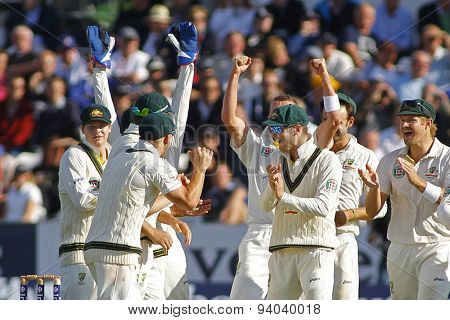 CHESTER LE STREET, ENGLAND - August 09 2013: Australia celebrate the wicket of Matt Prior during day one of the Investec Ashes 4th test match at The Emirates Riverside Stadium