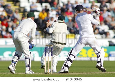 CHESTER LE STREET, ENGLAND - August 09 2013: Steven Smith takes evasive action whilst in a close fielding position during day one of the Investec Ashes 4th test match at The Emirates Riverside Stadium