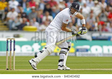 CHESTER LE STREET, ENGLAND - August 09 2013: Kevin Pietersen looks behind after playing a shot during day one of the Investec Ashes 4th test match at The Emirates Riverside Stadium