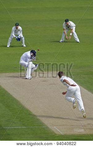 CHESTER LE STREET, ENGLAND - August 10 2013: James Anderson gets hit on the helmet from Jackson Bird during day two of the Investec Ashes 4th test match at The Emirates Riverside Stadium