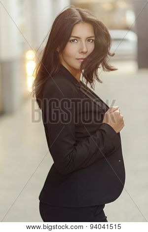 Attractive Sexy Woman In A Stylish Suit