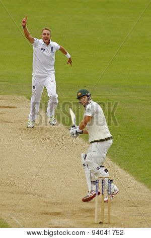 CHESTER LE STREET, ENGLAND - August 10 2013: Stuart Broad celebrates taking the wicket of Shane Watson during day two of the Investec Ashes 4th test match at The Emirates Riverside Stadium