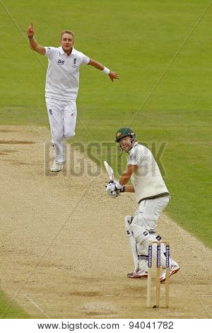 CHESTER LE STREET, ENGLAND - August 10 2013: Stuart Broad celebrates taking the wicket of Shane Watson during day two of the Investec Ashes 4th test match at The Emirates Riverside Stadium,