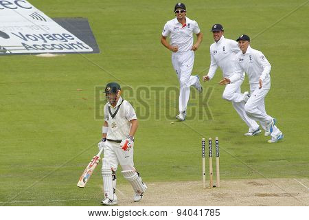 CHESTER LE STREET, ENGLAND - August 10 2013: England celebrate the wicket of David Warner during day two of the Investec Ashes 4th test match at The Emirates Riverside Stadium, on August 10, 2013