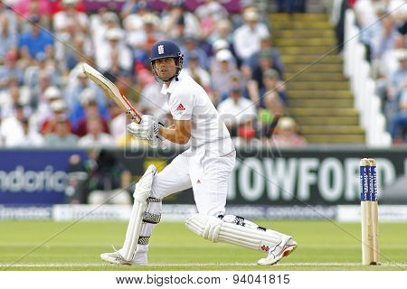 CHESTER LE STREET, ENGLAND - August 11 2013: Alastair Cook batting during day three of the Investec Ashes 4th test match at The Emirates Riverside Stadium, on August 11, 2013 in London, England.