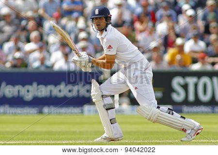 CHESTER LE STREET, ENGLAND - August 11 2013: Alastair Cook during day three of the Investec Ashes 4th test match at The Emirates Riverside Stadium, on August 11, 2013 in London, England.