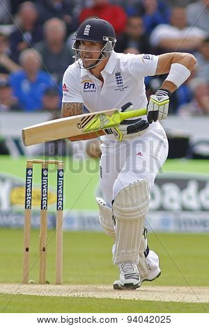 CHESTER LE STREET, ENGLAND - August 11 2013: Kevin Pietersen during day three of the Investec Ashes 4th test match at The Emirates Riverside Stadium, on August 11, 2013 in London, England.