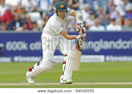 CHESTER LE STREET, ENGLAND - August 11 2013: Peter Siddle batting during day three of the Investec Ashes 4th test match at The Emirates Riverside Stadium, on August 11, 2013 in London, England.
