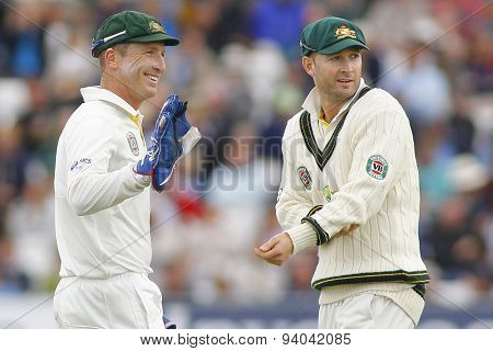 CHESTER LE STREET, ENGLAND - August 11 2013: Brad Haddin and Michael Clarke during day three of the Investec Ashes 4th test match at The Emirates Riverside Stadium, on August 11, 2013