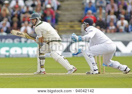 CHESTER LE STREET, ENGLAND - August 12 2013: Chris Rogers and Matt Prior during day four of the Investec Ashes 4th test match at The Emirates Riverside Stadium, on August 12, 2013 in London, England.