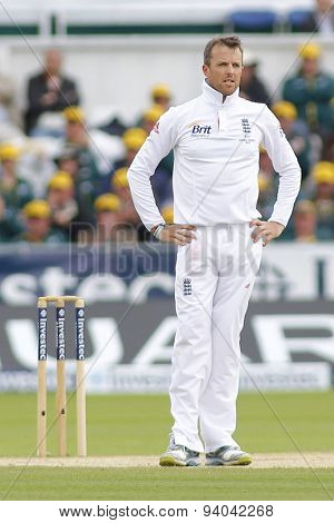 CHESTER LE STREET, ENGLAND - August 12 2013: Graeme Swann reacts during day four of the Investec Ashes 4th test match at The Emirates Riverside Stadium, on August 12, 2013 in London, England.