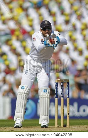 LONDON, ENGLAND - August 21 2013: Matt Prior catches the ball during day one of the 5th Investec Ashes cricket match between England and Australia played at The Kia Oval Cricket Ground
