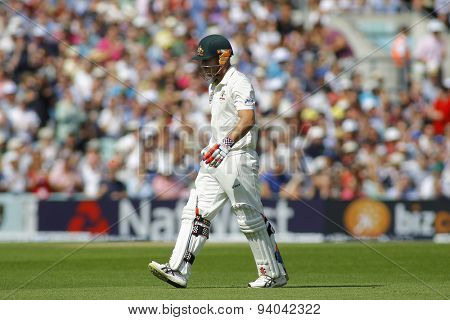LONDON, ENGLAND - August 21 2013: David Warner walks off after being dismissed during day one of the 5th Ashes cricket match between England and Australia played at The Kia Oval Cricket Ground