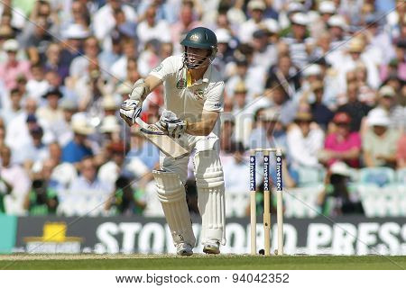 LONDON, ENGLAND - August 21 2013: Chris Rogers during day one of the 5th Investec Ashes cricket match between England and Australia played at The Kia Oval Cricket Ground on August 21, 2013