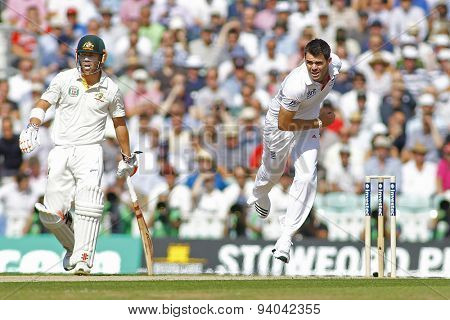 LONDON, ENGLAND - August 21 2013: David Warnerand James Anderson during day one of the 5th Investec Ashes cricket match between England and Australia played at The Kia Oval Cricket Ground