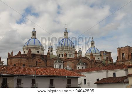 Tiled Domes Of The New Cathedral, Cuenca, Ecuador