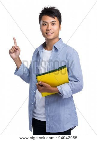 Young man hold with folder and finger point up