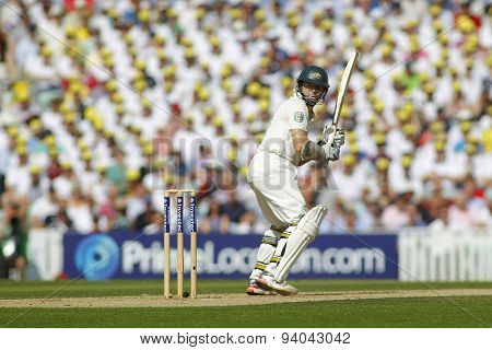 LONDON, ENGLAND - August 21 2013: Chris Rogers plays a shot during day one of the 5th Investec Ashes cricket match between England and Australia played at The Kia Oval Cricket Ground
