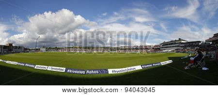 CHESTER LE STREET, ENGLAND - August 12 2013: A general view of the ground and play stitched together from multiple shots during day four of the Ashes 4th test match at The Emirates Riverside Stadium