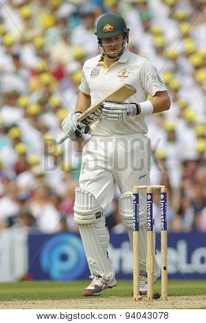LONDON, ENGLAND - August 21 2013: Shane Watson runs a single during day one of the 5th Investec Ashes cricket match between England and Australia played at The Kia Oval Cricket Ground