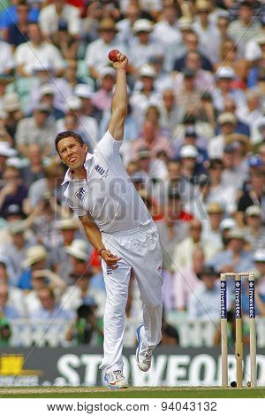LONDON, ENGLAND - August 21 2013: Simon Kerrigan bowling during day one of the 5th Investec Ashes cricket match between England and Australia played at The Kia Oval Cricket Ground on August 21, 2013
