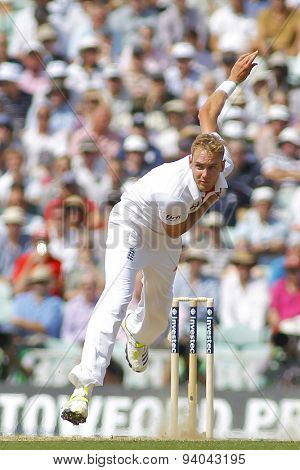LONDON, ENGLAND - August 21 2013: Stuart Broad bowling during day one of the 5th Investec Ashes cricket match between England and Australia played at The Kia Oval Cricket Ground on August 21, 2013