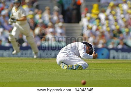 LONDON, ENGLAND - August 21 2013: Graeme Swann eracts after missing a catch during day one of the 5th Investec Ashes cricket match between England and Australia