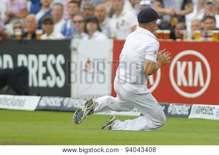 LONDON, ENGLAND - August 22 2013: Jonathan Trott catches the ball to dismiss James Faulkner during day two of the 5th Investec Ashes cricket match between England and Australia