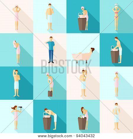 Personal Hygiene Flat Icons Set