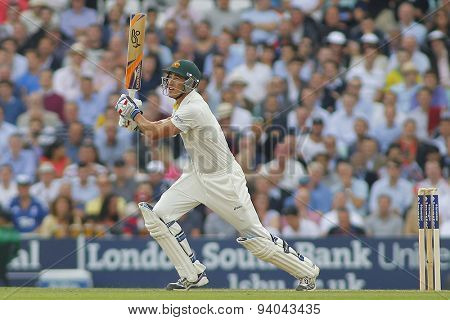 LONDON, ENGLAND - August 22 2013: Mitchell Starc plays a shot during day two of the 5th Investec Ashes cricket match between England and Australia
