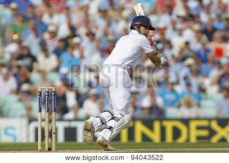 LONDON, ENGLAND - August 23 2013: Alastair Cook batting during day three of the 5th Investec Ashes cricket match between England and Australia played at The Kia Oval Cricket Ground