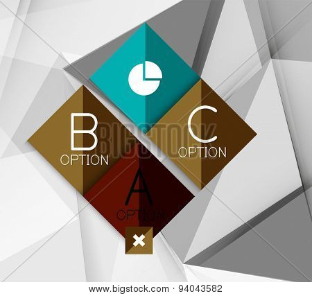 Business geometric option steps infographics. Color glossy shapes - buttons with numbers, letters and icons