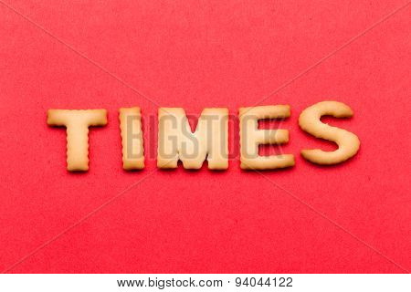Word times cookie over the red background
