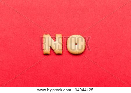 Word no cookie over the red background