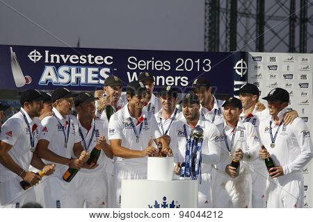 LONDON, ENGLAND - August 25:  during the award ceremony and Urn presentation for the Investec Ashes cricket match between England and Australia played at The Kia Oval Cricket Ground